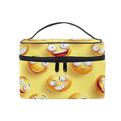 Bolsa de maquillaje, Emoji Emoticon Patrón Estuche de viaje ...