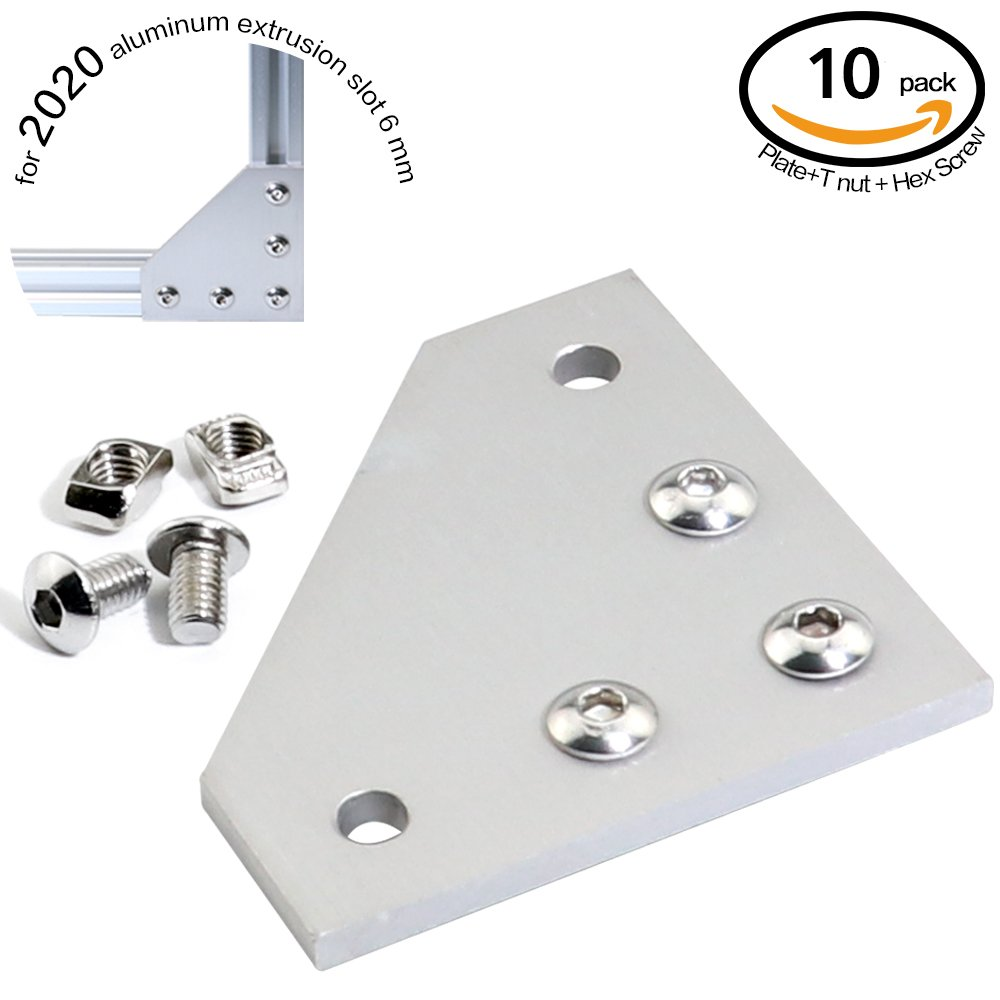 Boeray 10pcs T Slot L Shape Joining Plate and 50pcs M5x8 Hex Screw and 50pcs T nut, for 2020 Aluminum Profile