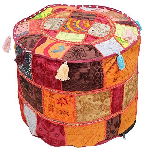 SouvNear Southwest Ottomans Moroccan Foot Stool Pouf 18.5 x 14'' Bohemian Cover Multicolor Handmade in 100% Cotton Fabric Patchwork - Living Room Decor