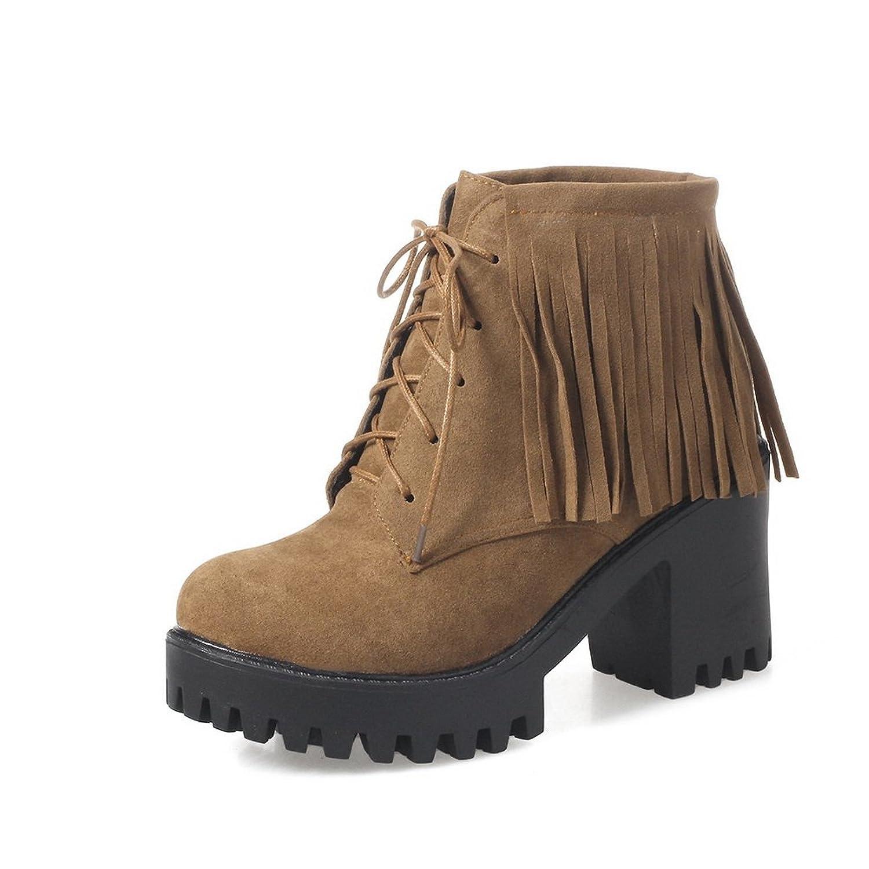AdeeSu Womens Fringed Chunky Heels Bandage Waterproof Suede Boots SXC02574