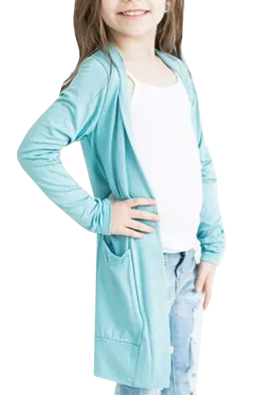 Umeko Girls Open Front Long Sleeve Solid Loose Fit Cardigan Sweaters with Side Pockets