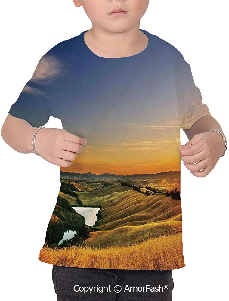 Tuscan Decor Colorful Boys and Girls Soft Short Sleeve T-Shirt,Magical Photo of