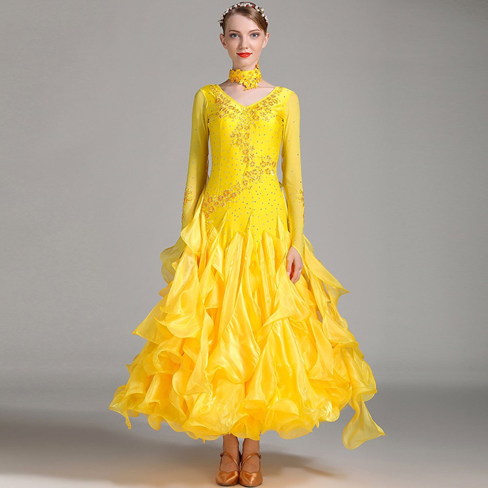 モダンな女性の大きな振り子手刺繍モダンダンスドレスストラップタンゴとワルツダンスドレスダンスコンペティションスカート長袖ラインストーンダンスコスチューム B07HHWR1TS XXL|Yellow Yellow XXL