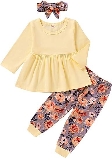 Tabpole - Conjunto de ropa de otoño, camisa con volantes y pantalón, con diadema, para niñas pequeñas y bebés