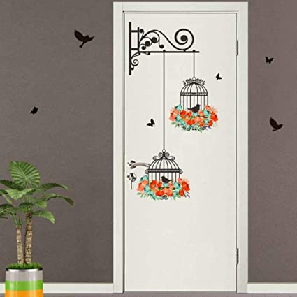 2pcs Wall Stickers Bird Cage Sticker Home Decor Painting Bedroom