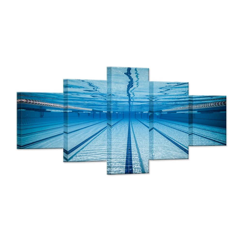 Hello Artwork - Large 5 Piece Canvas Wall Art Blue Water Swimming Pool Modern Natatorium Sport Gym Stretched And Framed Home Decor Wall Art for Living Room Decor