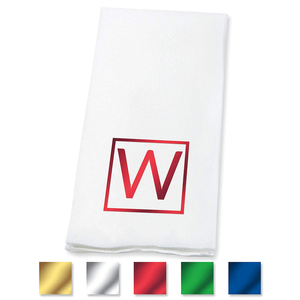 Lillian Vernon Square Personalized Monogram Guest Hand Towels (Set of 100)- 50% Cotton 50% Paper Blend, 13'' by 17'' Open and 4 1/2'' by 8 1/2'' Closed, Choose from 5 Colors, Weddings, Dinner Party