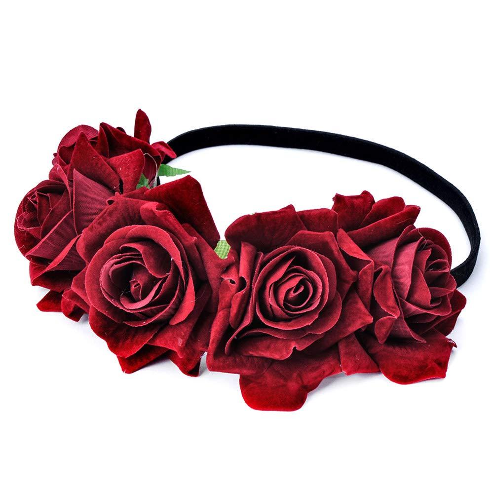 Jaune clair Beito Premium Velvet Rose Fleur Couronne De Mariage Festival Bandeau De Cheveux Guirlande De Mariage Headpiece pour Femme Fille
