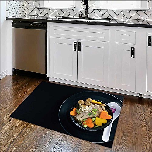 - Rug Easy to Clean, Durable pork rib soup with vegetable bowl on black plate Rug for Kitchens W39