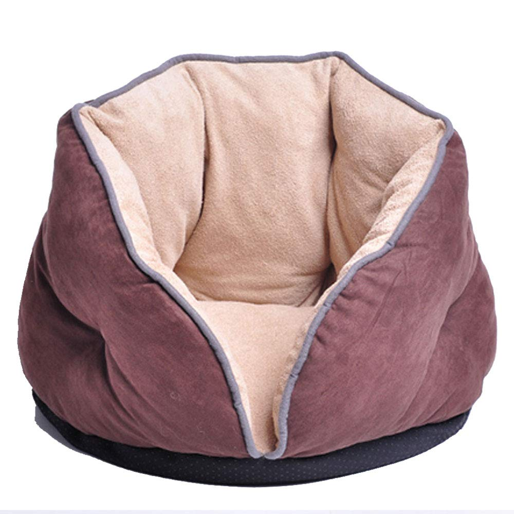BROWN L(within 9kg) BROWN L(within 9kg) AXIANQI Cat Litter Cat Sleeping Bag Kennel Small Dog Autumn And Winter Warm Semi-enclosed Cat Room Cat House Cat Nest Pet Supplies New Listing Five color Optional A