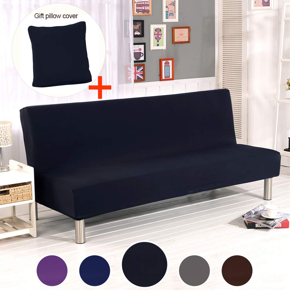 ele ELEOPTION Futon Cover Armless Sofa Slipcover Stretch Sofa Bed Cover Protector Elastic Spandex Modern Simple Mattress Folding Couch Sofa Shield ...