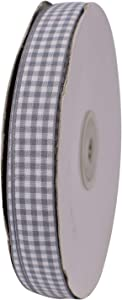 ATRibbons 50 Yards 5/8 Inch Wide Plaid Ribbon Polyester Gingham Ribbon for Gift Wrapping,Hair Bows and Craft (Gray)