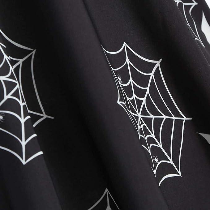 Women Halloween Slash Neck Off Shoulder Spider Web Print Gown Flare Evening Party: Clothing