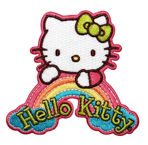 Hello Kitty White Rainbow Logo Japanese Culture Cat Icon Iron On Applique - Icon Cats