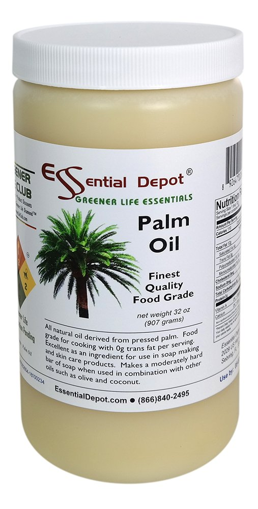 Palm Oil - 1 Quart - 32 oz - RSPO Certified - Sustainable - Food Grade - Kosher - Not Hydrogenated - safety sealed HDPE container with resealable cap