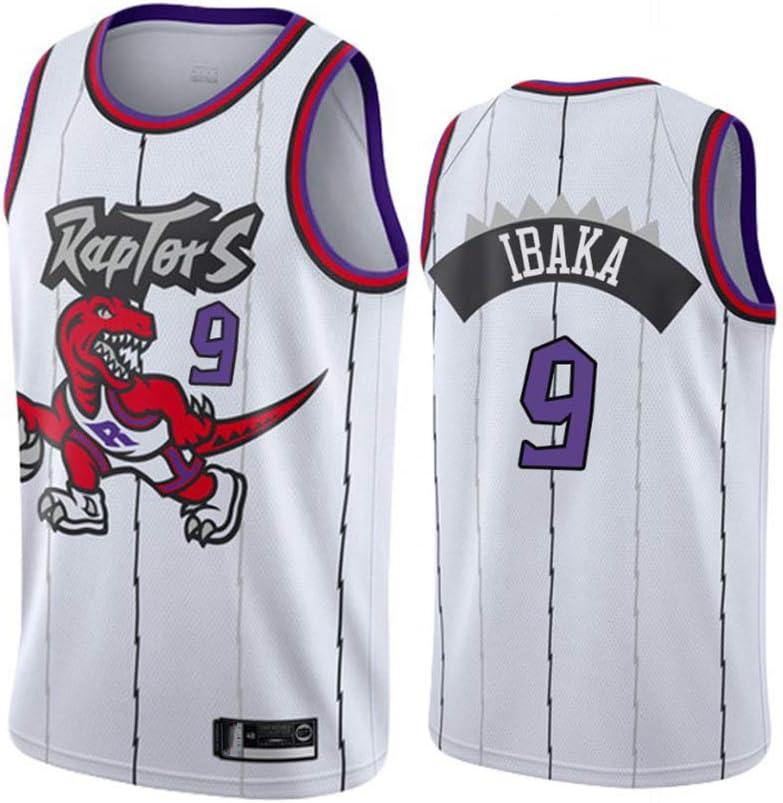 170cm//50~65kg Mens Basketball Jersey Vintage Toronto Raptors 9# Ibaka Breathable Quick Drying Sleeveless Sport Vest Top,White,S