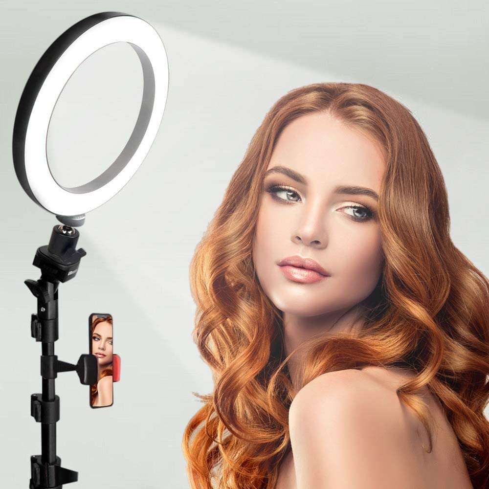 8 zhuolang 10 Ring Light with Tripod Stand Selfie Stick /& Cell Phone Holder for Live Stream Youtube Video Makeup Vlog Photography Compatible with iPhone Android