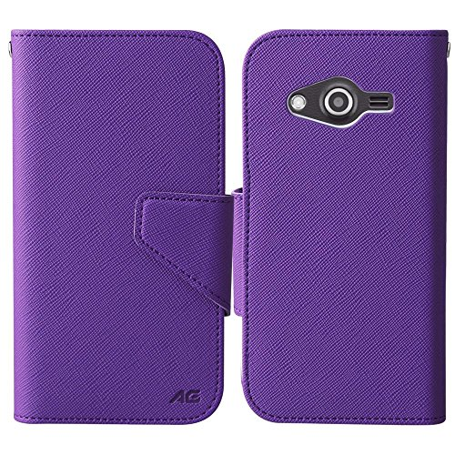 Price comparison product image Samsung Galaxy Avant Case - Armatus Gear (TM) Slim Folio Jacket PU Leather Wallet Case w/ Credit Card ID Slots For Samsung Galaxy Avant G386T - Purple