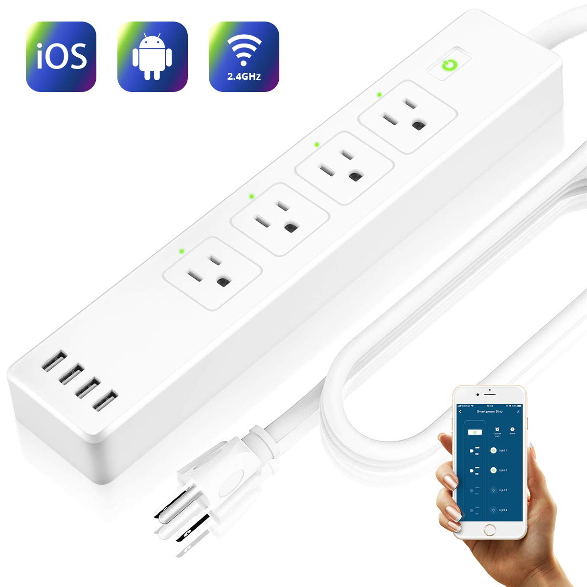 LARKKEY Smart Power Strip WiFi Power Bar with 4 USB Charging Ports and Smart AC Plugs, Compatible with Alexa,Google Home and IFTTT, Surge Protector 2.4GHz, FCC Listed