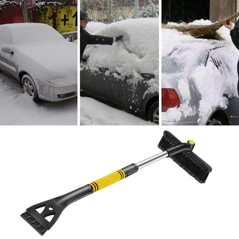 Magical Ice Scraper Extendable Car Snow Brush Ice Remover for Windshield Deicing Shovel Tool Stiff Bristle Brush and Aluminium Design Scrape Frost and Ice for Truck SUV