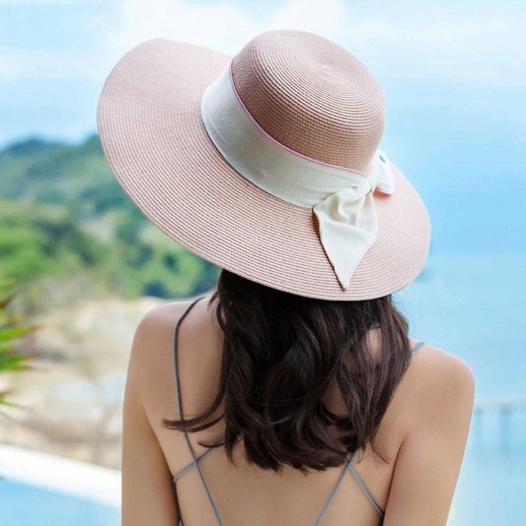 Pink Ladies Wide Brim Sun Hat Summer Shade Straw Hat Seaside Vacation Beach Cap Packable Adjustable Women Visor Hats (color   Pink)