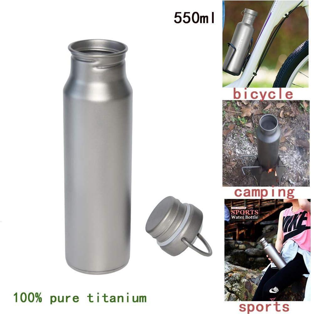Ligero Cantimplora de Agua Titanio - Pared Simple Taza de Viaje Sin BPA Prueba de Fugas Reutilizable Boca Estrecha para Ciclistas, Excursionistas, Playa, picnics, 550ML,2pack