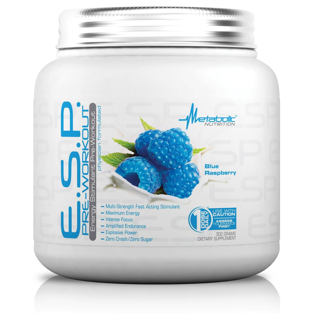 Metabolic Nutrition, ESP, Energy and Endurance Stimulating Pre Workout, Pre Intra Workout, High Energy and Mental Focus, Stimulating Workout Supplement, Blue Raspberry, 300 Grams (90 Servings) by Metabolic Nutrition