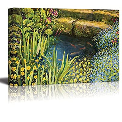 Canvas Prints Wall Art - A Small Tranquil Pond with Fishes and Colorful Blooming Flowers in Oil Painting Style | Ready to Hang - 32