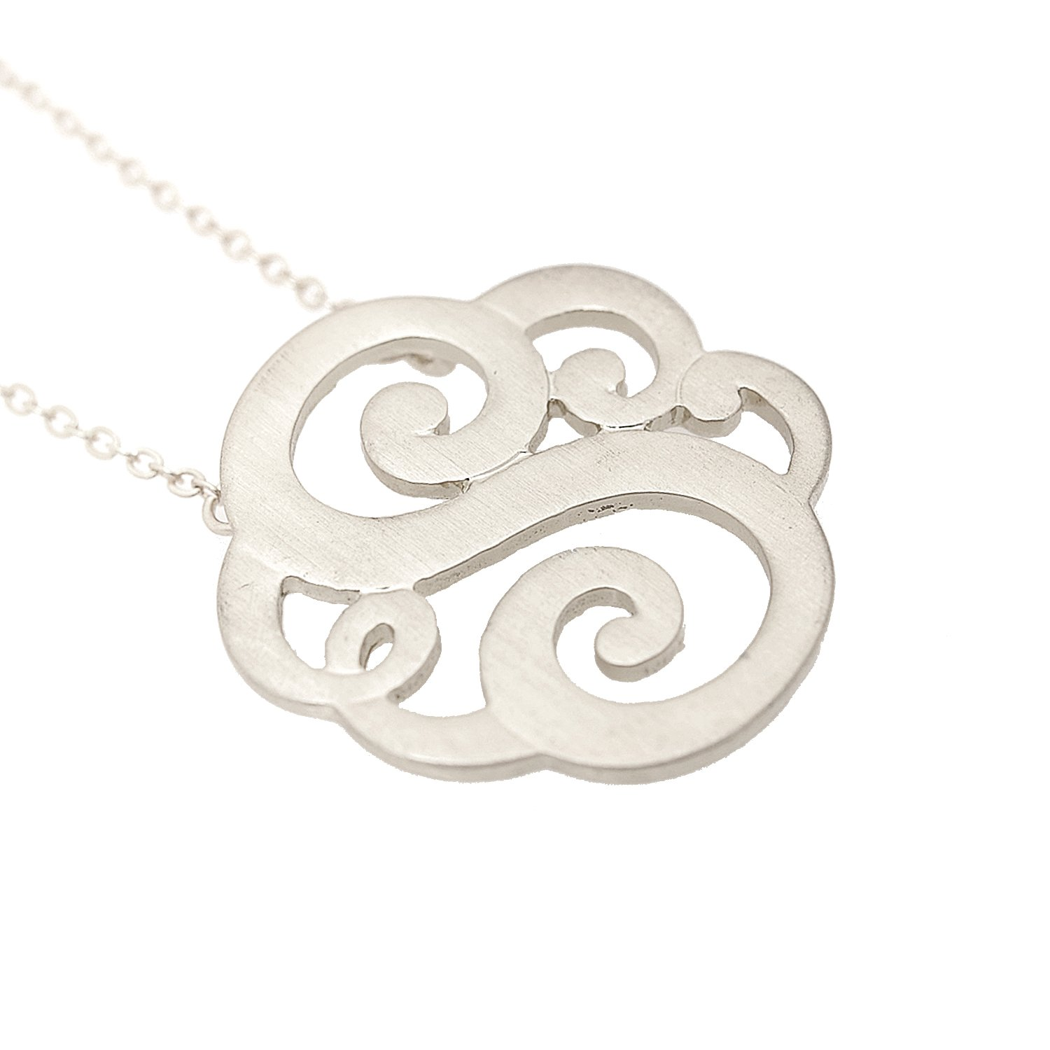 Initial S Silver Brushed Metal Initial Monogram Split Chain Necklace