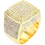 Hip Hop Bling Empire Mens Iced Out Cz Diamond Micro Paved Silver Gold Plated Square Boss Rings #8,9,10,11,12