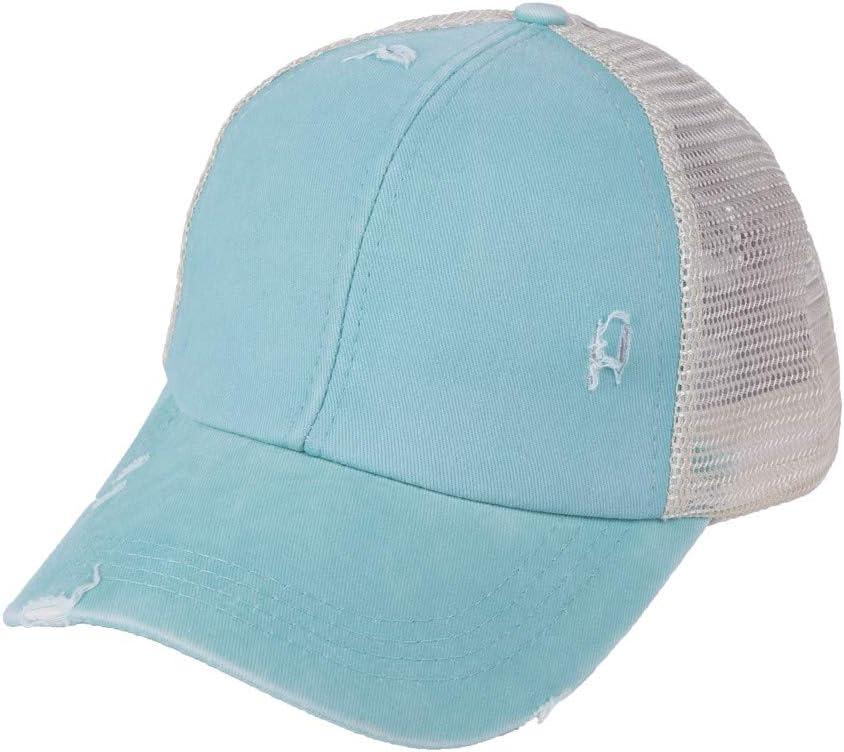ForgetMe Washed Distressed Cotton Denim Ponytail Hat Adjustable Baseball Cap Ponytail Criss Cross Messy Buns Ponycaps Baseball Cap Dad Trucker Mesh Hat