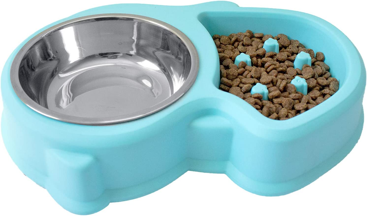 Slow Feed Anti-Choke Pet Bowl Feeder with Stainless Steel Metal Dog Water Bowl - Prevents Pets Eating Quickly Avoids Bloat - Squirrel Pattern (Green, Pink, Blue)