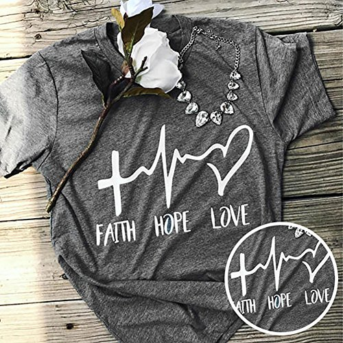 Usaboutall Faith Hope Love Street Fashion Loose Top T-Shirt❤❤❤ by Usaboutall