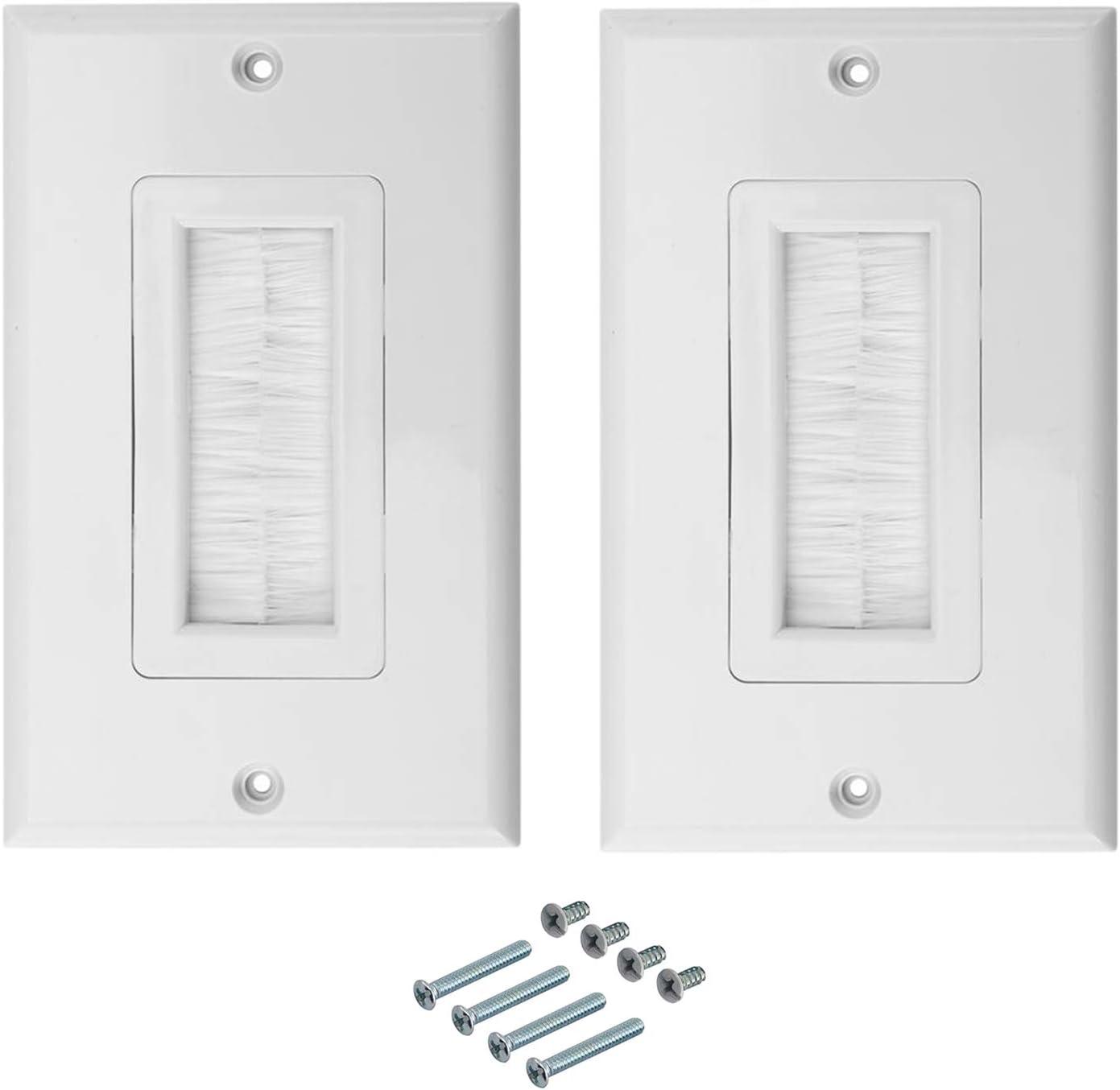 RLECS 1-Pack White Brush Wall Plate Single Port Multipurpose Outlet Cover Wall Mount Panel for Multimedia HDMI HDTV Speaker Wires
