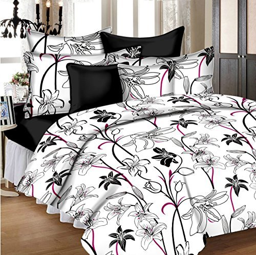 Ahmedabad Cotton Aspire 180 TC Sateen Double Bedsheet with 2 Pillow Covers – White and Black