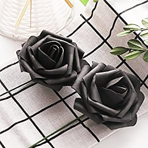Artificial Flowers Dark Orange Roses Real Looking Fake Roses DIY Wedding Bouquets Centerpieces Arrangements Party Baby Shower Home Decorations 3