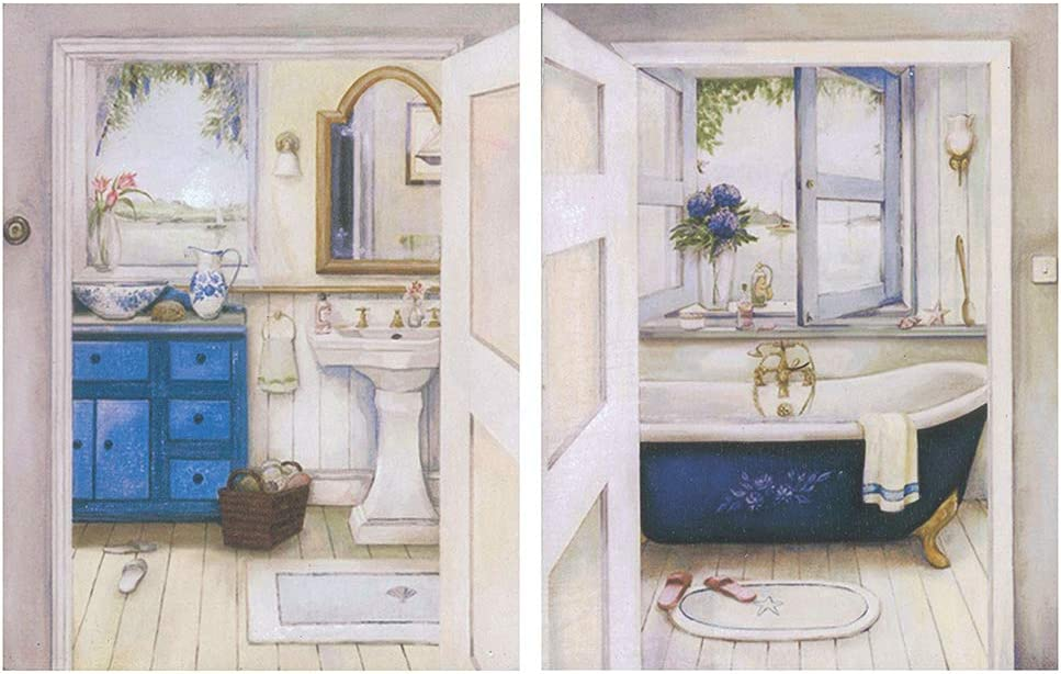Cuadro de baño clásico/Placas de Madera Set de 2 Cuadros de 19 cm x 25 cm x 4 mm unid. Adhesivo FÁCIL COLGADO. Adorno Decorativo. Decoración Pared hogar