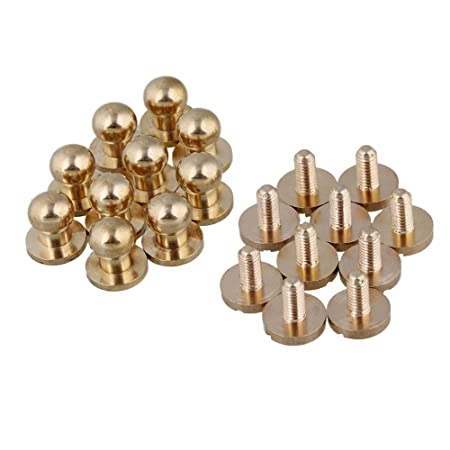 10piece 0.35 x 0.3 x 0.4Inch Round Head Solid Brass Screws Nail Rivets