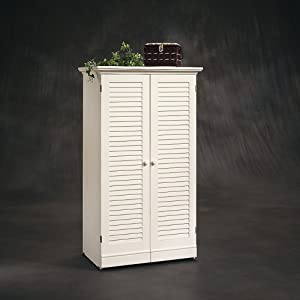 Sauder Harbor View Craft Armoire, Antiqued White