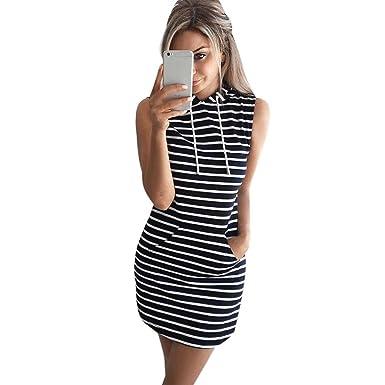 c2c6f0350bb77 HUYB 春 夏 秋 女性 プルオーバー ドレス ポケット 高襟 ロングスリーブ ノースリーブ ストライプ ワンピース