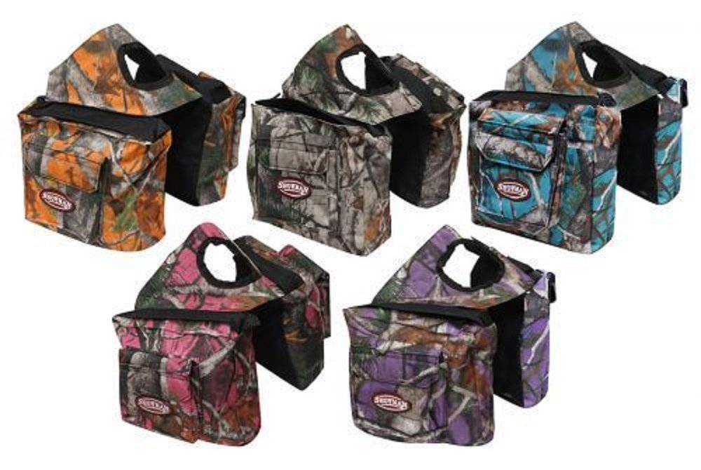 Showman Real Oak CAMO Endurance Trail Riding Nylon Saddle Horn Bag Orange