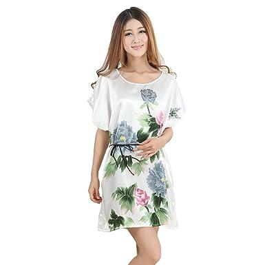 Amazon.com  NEEVAS Women s Chinese Style Short Sleeve Silk Dress Loose  Nightgown Pajamas Bathrobe (A)  Clothing c812d0af4