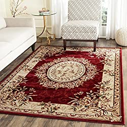 Safavieh Lyndhurst Collection LNH328C Traditional European Medallion Red and Ivory Area Rug (4' x 6')
