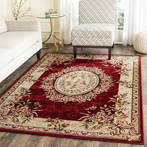 - Safavieh Lyndhurst Collection LNH328C Traditional European Medallion Red and Ivory Rectangle Area Rug (8'11