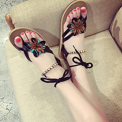 Pisos con Chanclas playa tobillo de Negro Sandalias Correa Tanga YOUJIA Cordones Mujer Flores Zapatos Boho cuentas de I6OqT4wO