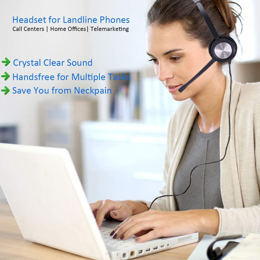 Corded Phone Headset with Microphone for Office Phones Call Center Telephone Headset Noise Cancelling for Yealink SIP-T28P SIP-T46S Pana sonic KX-HDV230 Grandstream GXP1405 Snom 320 Sangoma S705 etc