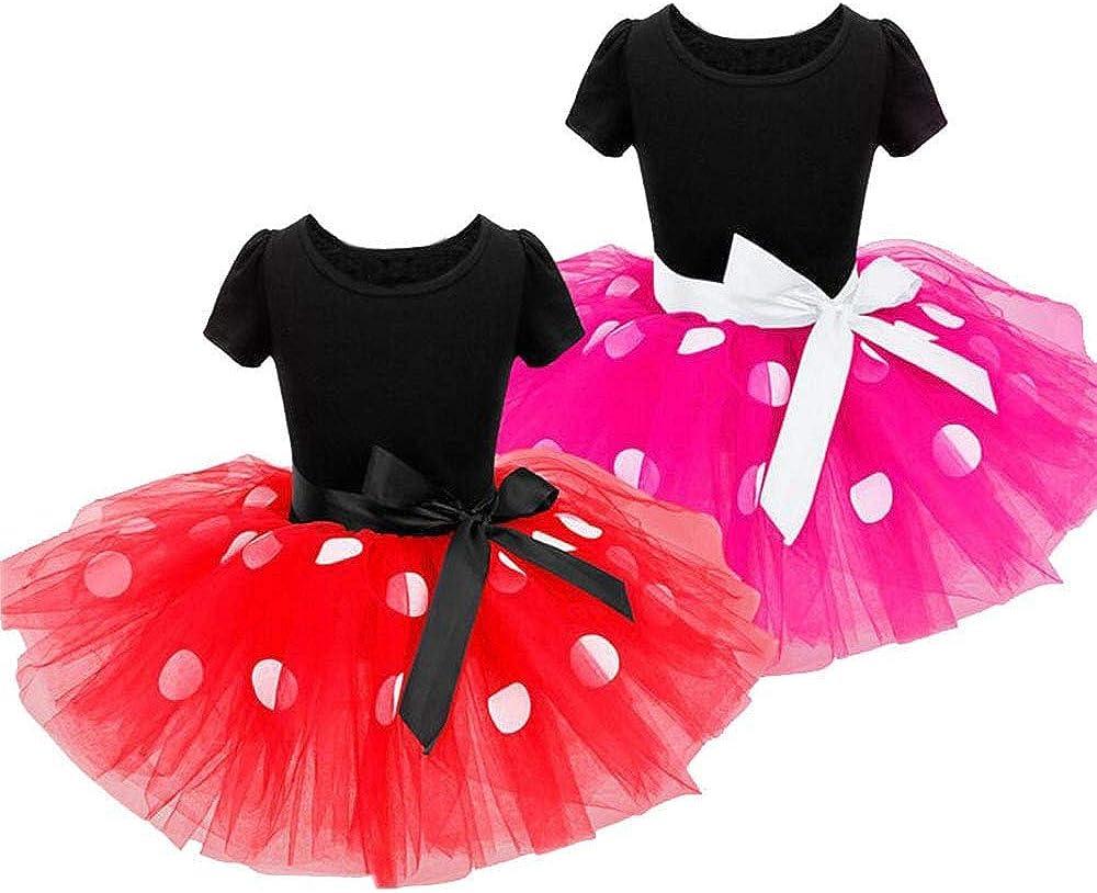 Nouveau-n/é Enfants B/éb/és Filles Tutu Robe /à Pois de No/ël avec Minnie Beandeau Costume Tenues de Photographie Carnaval Justaucorps Danse Princesse Bowknot Robes pour b/éb/é