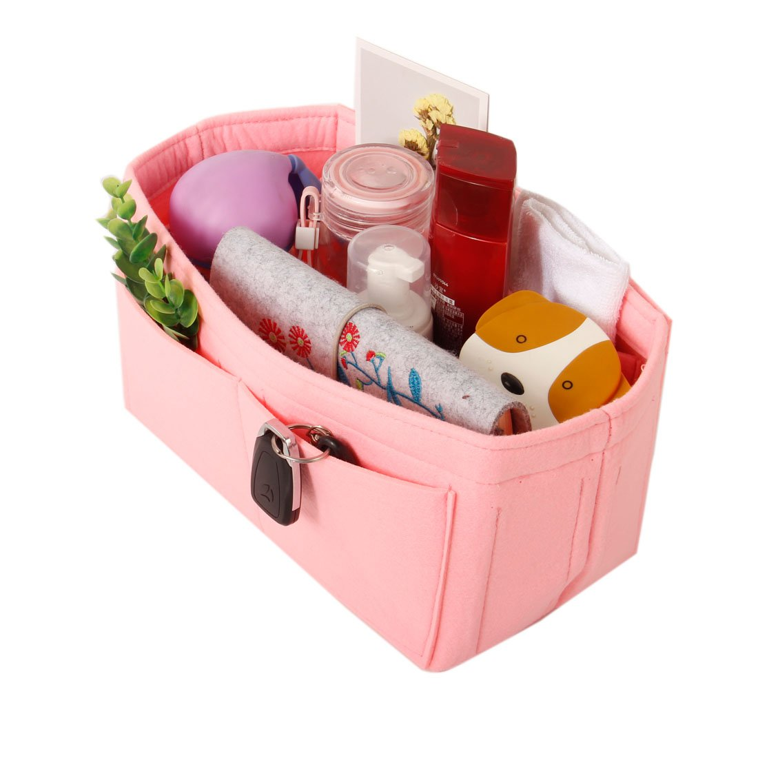Felt wallet inserted into organizer bag (M, pink)