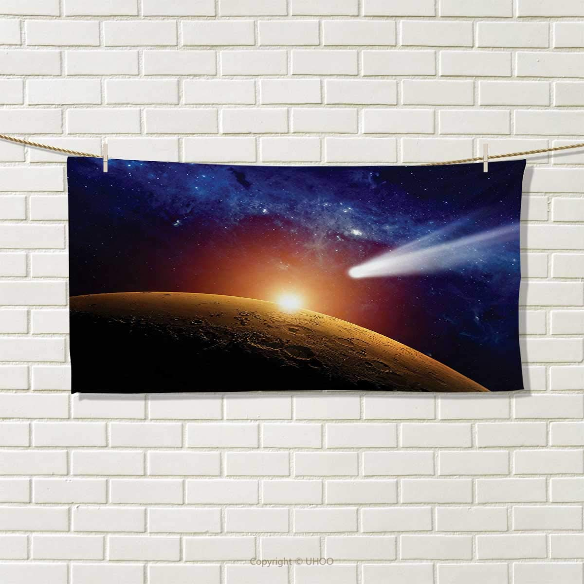 Chaneyhouse Outer Space,Hand Towel,Comet Tail Approaching Planet Mars Fantastic Cosmos Dark Solar System Scenery,Quick-Dry Towels,Bue Orange Size: W 20'' x L 20''