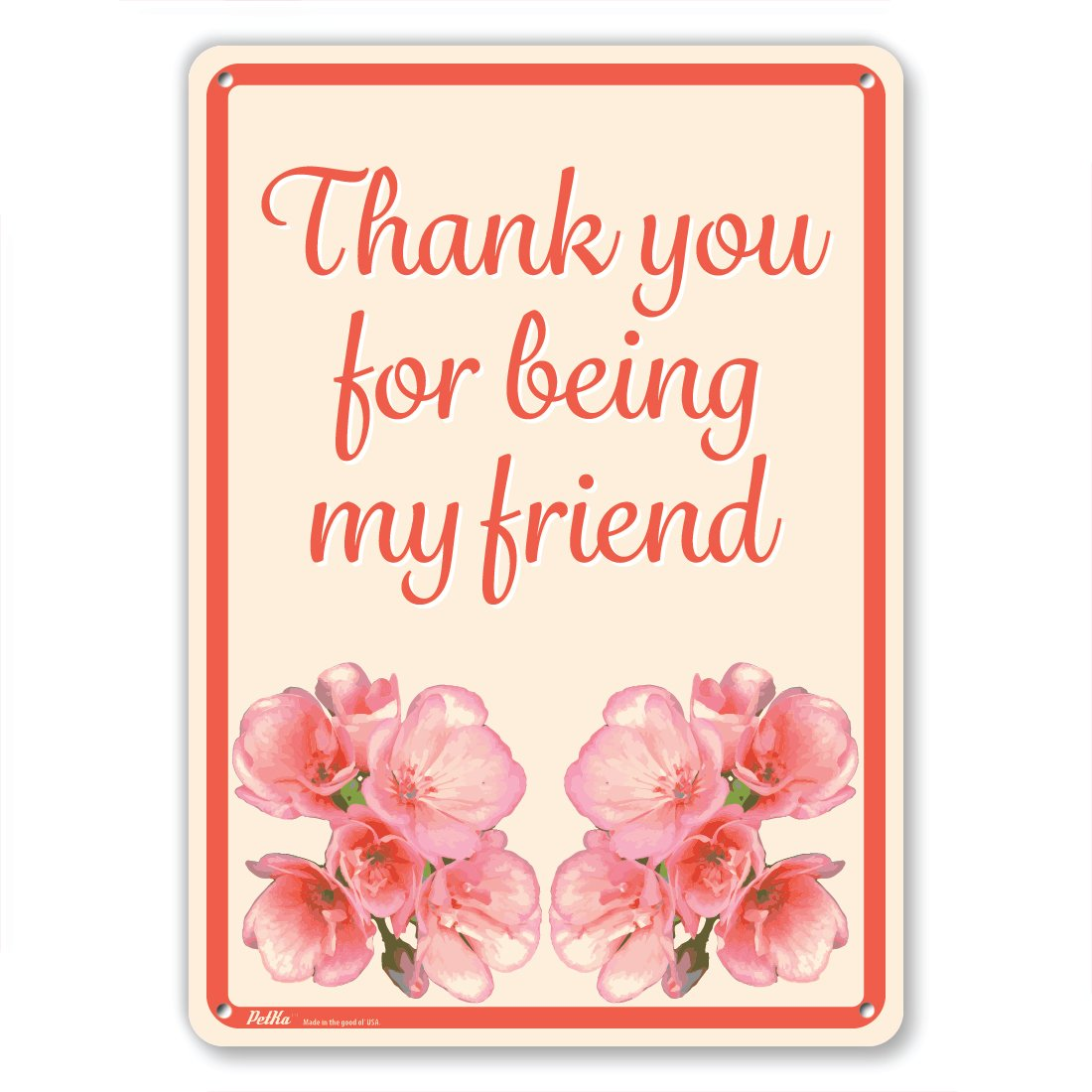 10 x 14 PetKa Signs and Graphics PKFW-0113-NA/_10x14Thank you for being my friend Aluminum Sign Pink Flowers on Yellow